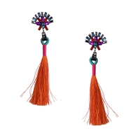 Alma Jeweled Tassel Drop Earrings