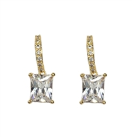 Jewelry Collection Emerald Cut Crystal Drop Earrings