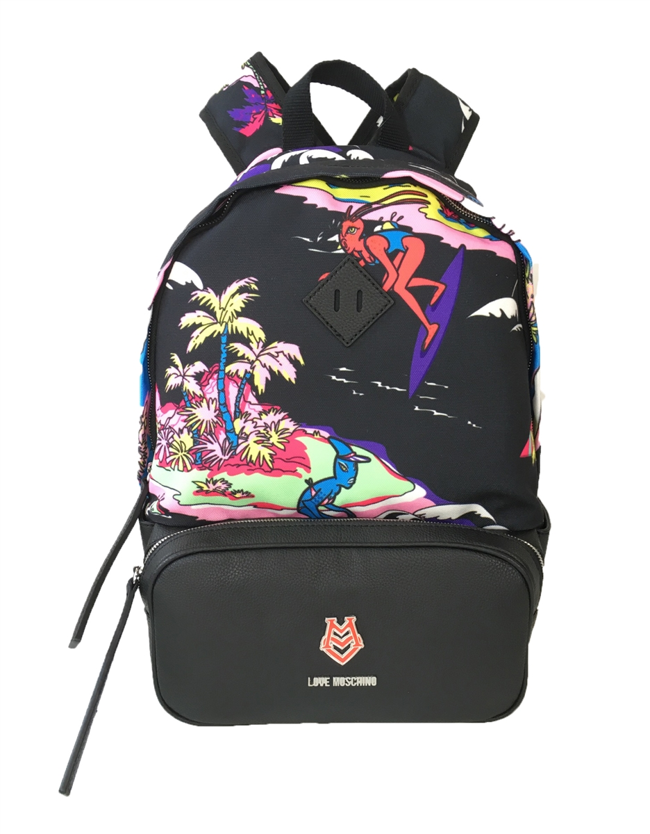 95c3cf103ad6 Love Moschino Aloha Surfing Octopus Canvas Backpack