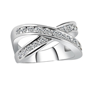 Jewelry Collection Silver Pave Crisscross Ring