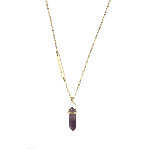 'Humilty & Power' Purple Quartz Pendant Necklace