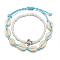 Cowrie Shell Slider Anklet & Beaded Charm Bracelet Set