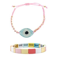 Evil Eye Glass Charm Slider Bracelet & Color Block Bars Stretch Bracelet