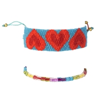 Hearts Sead Bead & Colorful Beaded Slider Bracelets