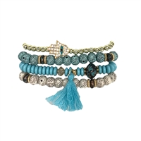 Pave Hamsa Beaded Stretch Bracelets Set of 4