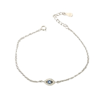 Jewelry Collection Pave Evil Eye Dainty Chain Bracelet