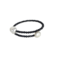 Audrey Pearl Faceted Crystal Bangle Bracelet