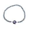 Elea Faceted Crystal Stretch Bracelet with Charm