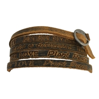 Sow Love Plant Peace Inspire Stamped Leather Wrap Bracelet