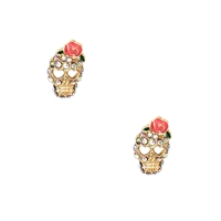 Jewelry Collection Rose Skull Pave Stud Earrings