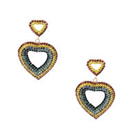 Cyndi Two Hearts Crystal Statement Drop Earrings Rainbow