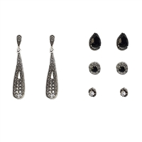 Azrael Filigree Drop & Stud Earrings Set of 4