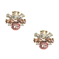 Make Me Blush Crystal Cluster Stud Earrings