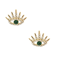 Indra Green Evil Eye Pave Stud Earrings