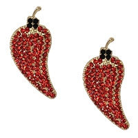 Hottie Chili Pepper Crystal Drop Earrings