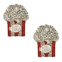 Movie Night Popcorn Crystal Drop Earrings