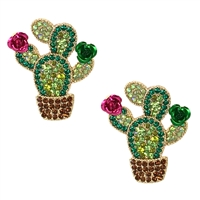 Flowering Cacti Cactus Crystal Drop Earrings