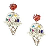 Sweets Vanilla Ice Cream Sundae Cone Drop Earrings