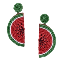 Juicy Watermelon Slice Beaded Drop Earrings