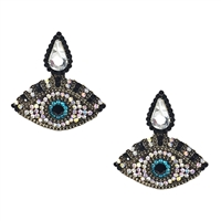 Elen Evil Eye Crystal Drop Earrings