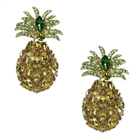 Stay Golden Pineapple Crystal Statement Drop Earrings