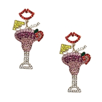 Tropical Getaway Daiquiri Cocktail Crystal Statement Earrings