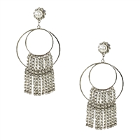 Sonya Double Hoop Crystal Fringe Drop Earrings
