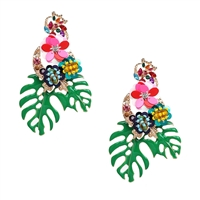 Jewelry Collection Monstera Leaf Tropical Statement Earrings