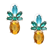Jewelry Collection Pineapple Crystal Drop Stud Earrings