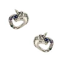 Alona Unicorn Heart Pave Mini Stud Earrings