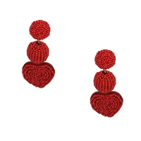 Jewelry Collection Scarlet Beaded Heart Statement Drop Earrings