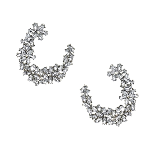 Donyale Floral Crystal Cluster Drop Earrings