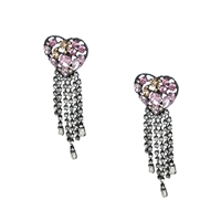Suzy Crystal Heart Fringe Statement Drop Earrings