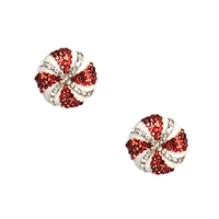 Peppermint Swirl Crystal Candy Stud Earrings