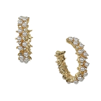 Maggie Simulated Pearl Crystal Petite Hoop Earrings