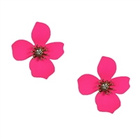 Paraiso Orchid Flower Stud Earrings Bright Pink