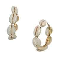 "Playa Cowrie Shell 2"" Hoop Earrings"