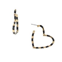 Jewelry Collection Nellie Striped Heart Shaped Hoop Earrings