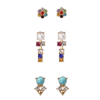 Jewelry Collection Selma Crystal Mini Stud Earrings Set of 3