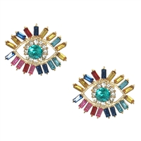 Edme Evil Eye Crystal Statement Stud Earrings