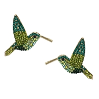 Zippy Hummingbird Crystal Statement Stud Earrings