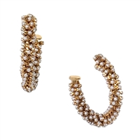 "Andrea Simulated Pearl 1.5"" Hoop Earrings"