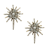 Nova Pave Starburst Statement Stud Earrings Antiqued Gold