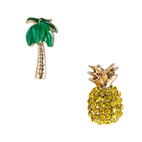 Tropical Palm Tree & Pineapple Mismatch Stud Earrings