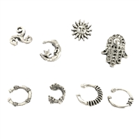 Hamsa Moon Mismatch Stud Earrings & Ear Cuff Set