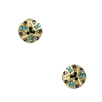Koco Crystal Aztec Pattern Circle Disk Stud Earrings