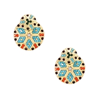 Xoco Crystal Aztec Pattern Circle Ear Jacket Earrings