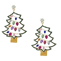 Holiday Lights Christmas Tree Crystal Statement Drop Earrings