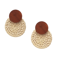 Costa Wood & Woven Rattan Circular Drop Earrings