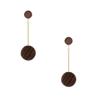 Jewelry Collection Wood Disc Linear Drop Earrings